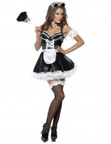 Zimmermädchen Damenkostüm sexy weiss-schwarz