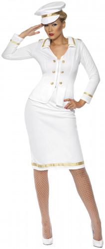 Offizierskostüm weiß für Damen