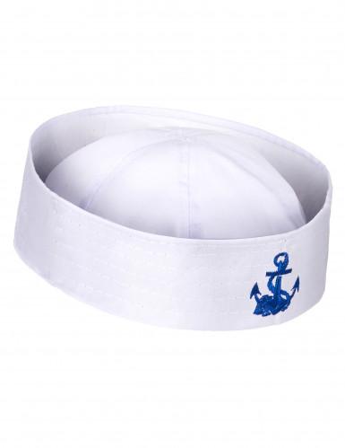 Matrosenhut für Herren mit blauem Anker weiß