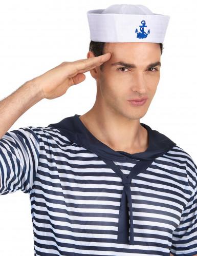 Matrosenhut für Herren mit blauem Anker weiß-1
