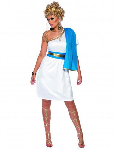 Römerinnen-Damenkostüm blau-weiss-goldfarben