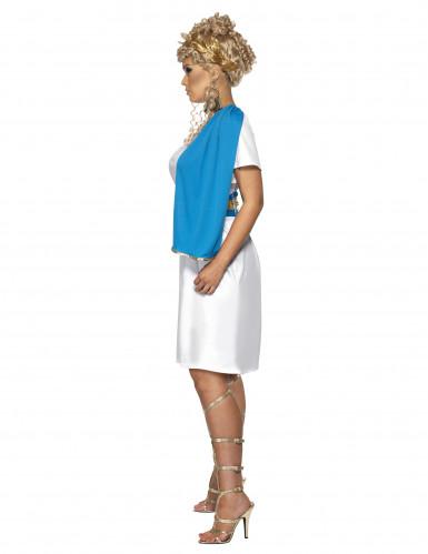 Römerinnen-Damenkostüm blau-weiss-goldfarben-1