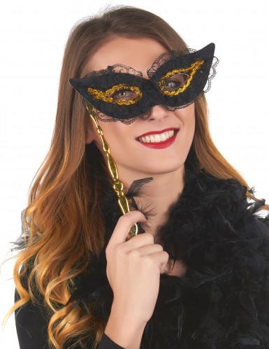 Maske am Stiel gold und schwarz