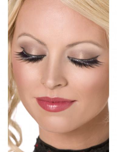 Falsche Wimpern mit Kristallen schwarz für Damen