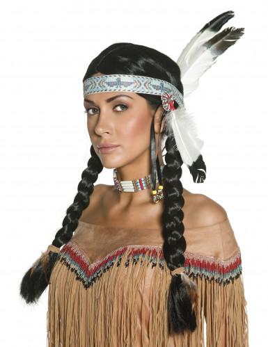 Indianerinnen-Perücke für Damen mit Federn bunt