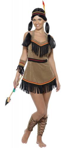 Damen-Indianerkostüm mit Fransen bunt