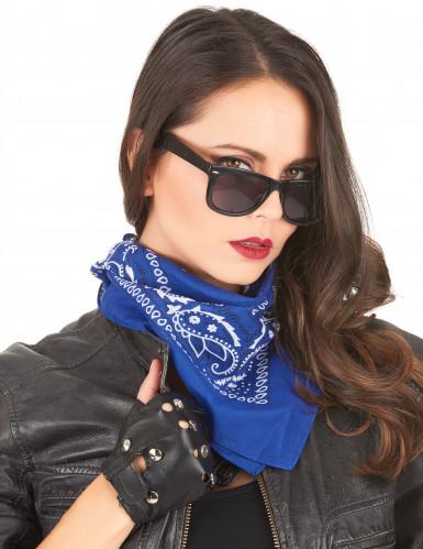 Blaues Bandana-Tuch für Cowboys oder Biker-1
