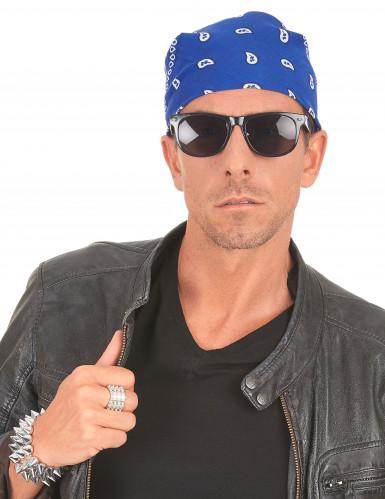 Blaues Bandana-Tuch für Cowboys oder Biker-2