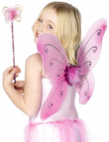Set rosa Schmetterling für Mädchen