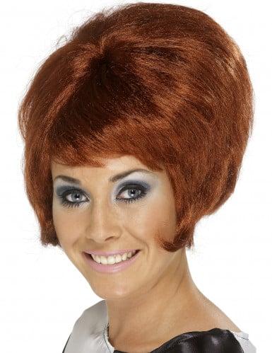 Braune Perücke Beehive-Frisur für Damen