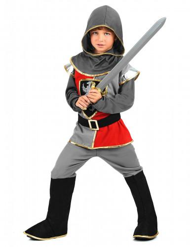 Ritter-Jungenkostüm schwarz-grau-rot-1