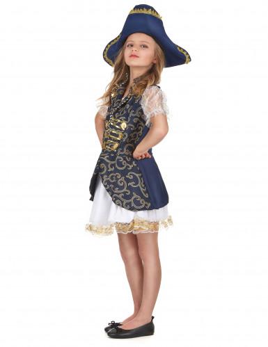 Piraten-Faschingskostüm für Mädchen blau-weiss-goldfarben-1