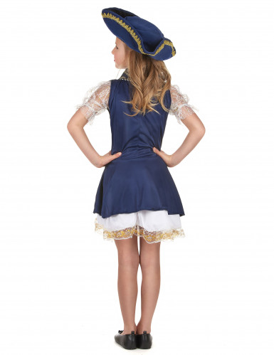Piraten-Faschingskostüm für Mädchen blau-weiss-goldfarben-2