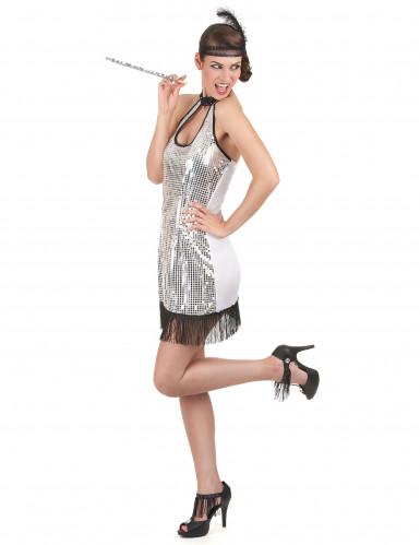 20er Jahre Retro-Kostüm für Damen silber-1
