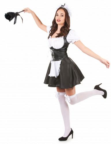 Heisses Zimmermädchen Kostüm für Damen schwarz-weiss-1
