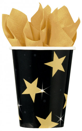 Becher schwarz, gold und Sterne