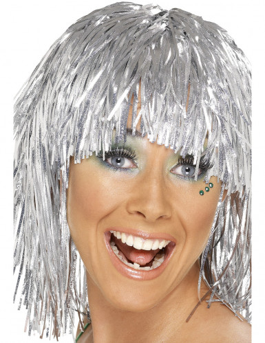 Disco Perücke silber-metallic für Erwachsene
