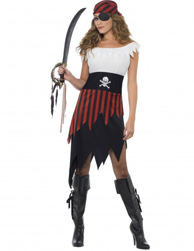 Freibeuterin-Kostüm mit Fransen für Damen schwarz-weiss-rot