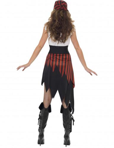 Freibeuterin-Kostüm mit Fransen für Damen schwarz-weiss-rot-1