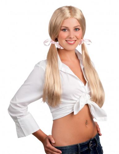 Schülerin-Perücke für Damen mit Schleifen blond-rosa