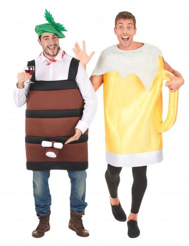 Bierkrug- und Weinfasskostüm für Paare