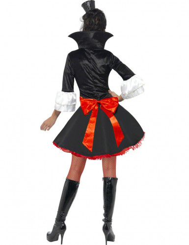 Sexy Vampir-Damenkostüm Halloween schwarz-weiß-rot-1