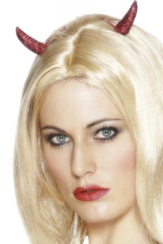 Rote Teufelinnenhörner mit Pailletten für Erwachsene zu Halloween