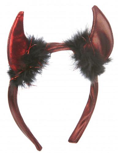 Teufelshörner Kostümzubehör für Erwachsene schwarz-rot