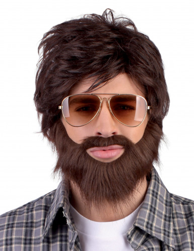 Perücke Dude mit Bart und Schnurrbart