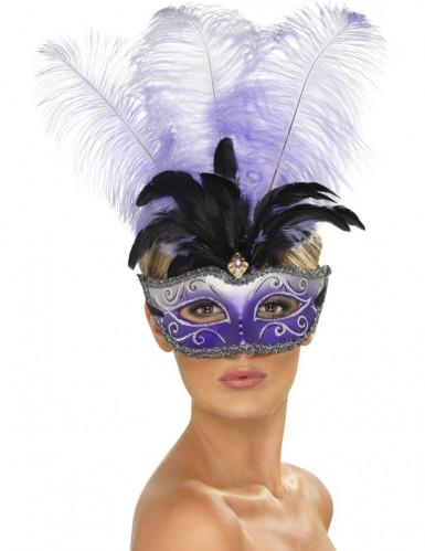 Venezianische Halbmaske mit langen Federn lila-schwarz-weiß