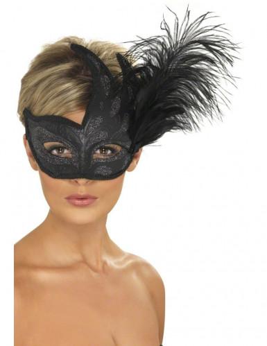 Schwarze Halbmaske mit silbernen Pailletten und Federn.