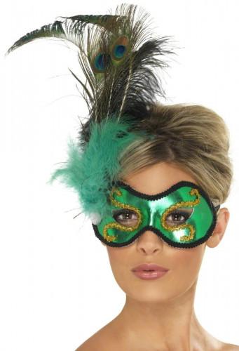 Grüne Halbmaske mit Federn für Erwachsene