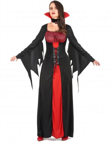 Vampir-Damenkostüm für Halloween rot-schwarz