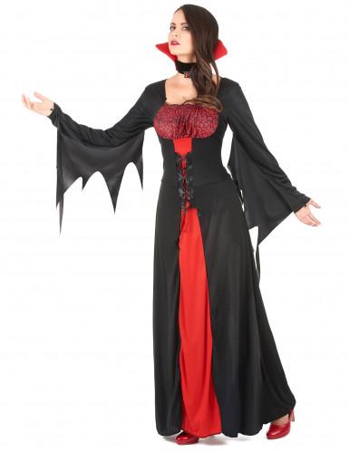 Vampir-Damenkostüm für Halloween rot-schwarz-1