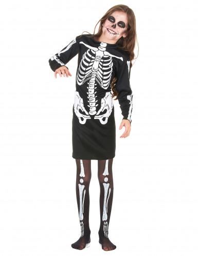 Skelett-Halloweenkostüm für Mädchen schwarz-weiss