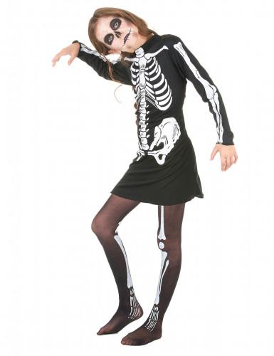 Skelett-Halloweenkostüm für Mädchen schwarz-weiss-1