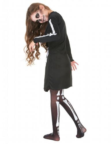 Skelett-Halloweenkostüm für Mädchen schwarz-weiss-2