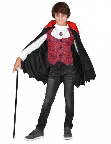 Vampir-Kostüm mit Totenkopfmuster für Jungen schwarz-weiß-rot-1