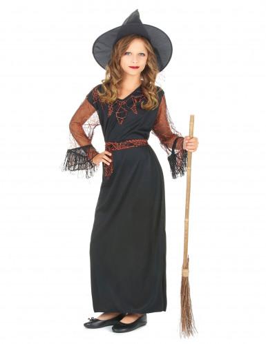 Hexen-Mädchen-Kostüm schwarz-orange