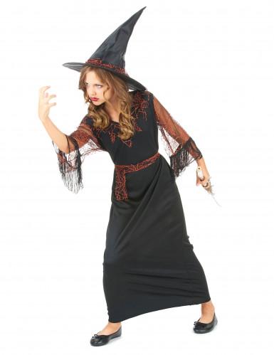 Hexen-Mädchen-Kostüm schwarz-orange-1