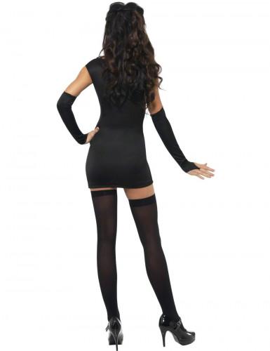 Sexy Damen-Skelettkostüm schwarz-weiss-rot-1