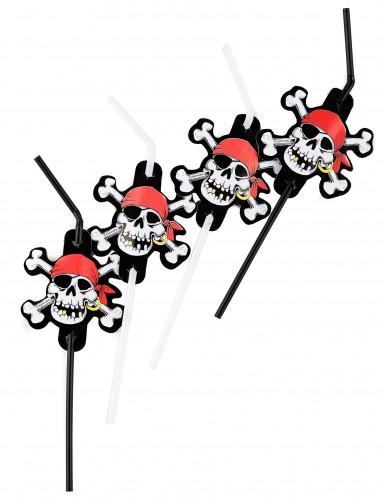 Piraten-Strohhalme 8 Stück schwarz-weiss-rot