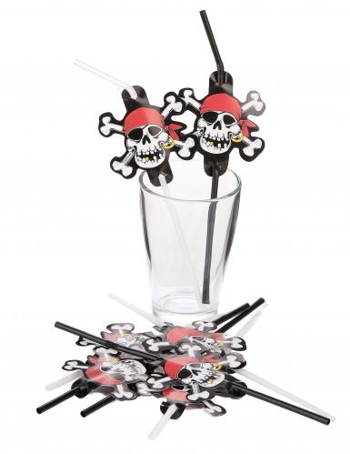 Piraten-Strohhalme 8 Stück schwarz-weiss-rot-1