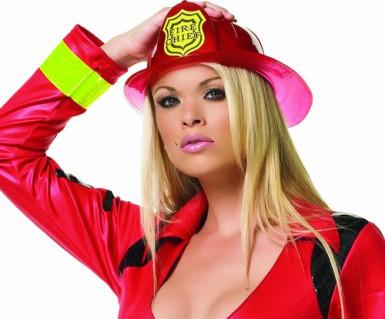 Feuerwehr-Helm für Erwachsene Kostüm-Zubehör rot