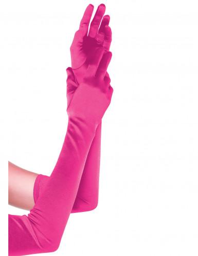 Rosarote lange Damenhandschuhe