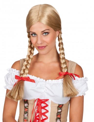 Perücke blond mit Zopf für Damen
