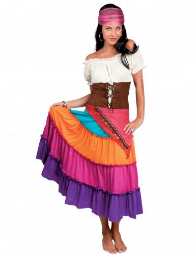 buntes Zigeunerinnen-Kostüm für Damen mit braunem Taillengürtel