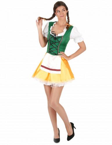 Sexy Dirndl Bayerin Kostüm für Damen bunt-2