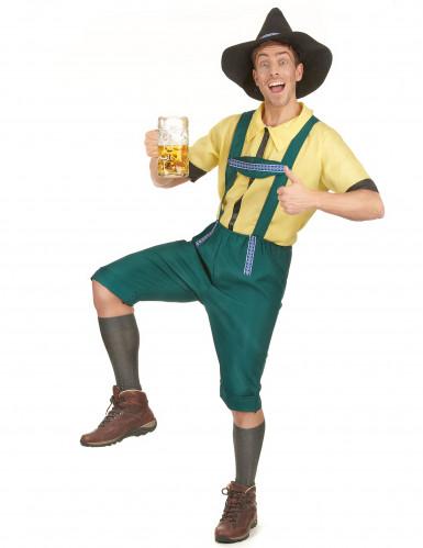 Bayrisches Kostüm Lederhose für Herren mit Hut grün-gelb-1