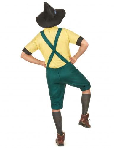 Bayrisches Kostüm Lederhose für Herren mit Hut grün-gelb-2